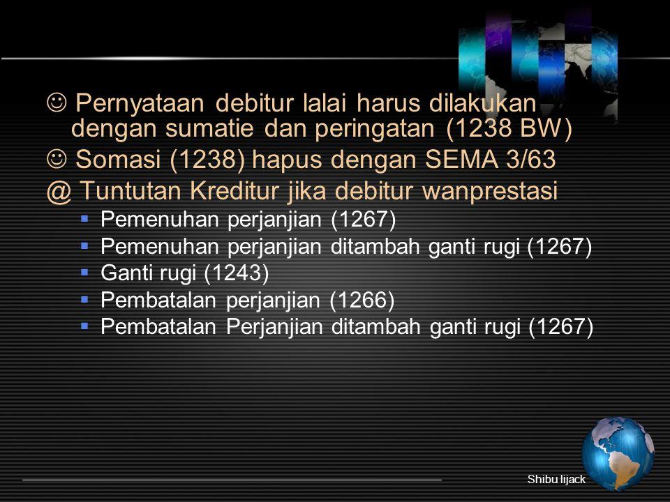Pernyataan debitur lalai harus dilakukan dengan sumatie dan peringatan (1238 BW) Somasi (1238) hapus dengan SEMA 3/63 @ Tuntutan Kreditur jika debitur