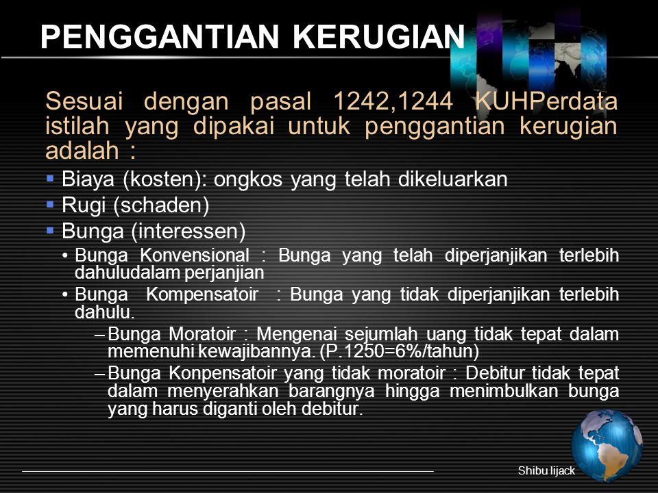PENGGANTIAN KERUGIAN Sesuai dengan pasal 1242,1244 KUHPerdata istilah yang dipakai untuk penggantian kerugian adalah :  Biaya (kosten): ongkos yang t