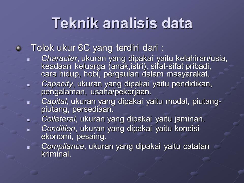 Teknik analisis data Tolok ukur 6C yang terdiri dari : Character, ukuran yang dipakai yaitu kelahiran/usia, keadaan keluarga (anak,istri), sifat-sifat