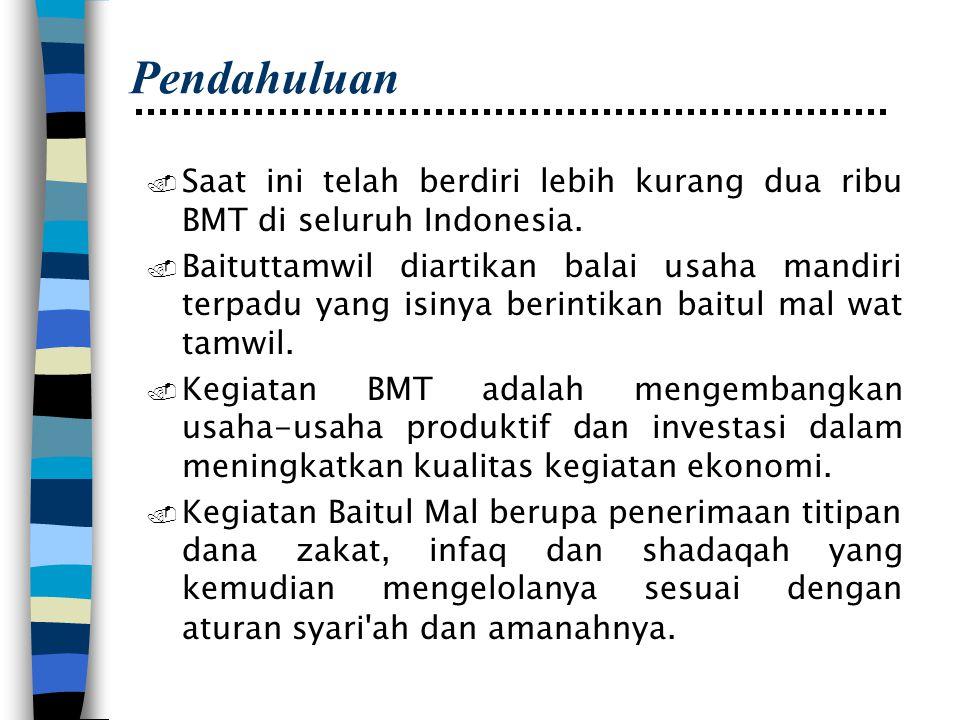 Pendahuluan. Saat ini telah berdiri lebih kurang dua ribu BMT di seluruh Indonesia.. Baituttamwil diartikan balai usaha mandiri terpadu yang isinya be