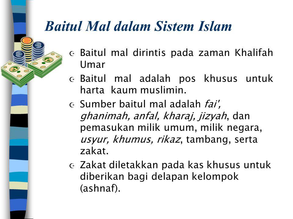 Baitul Mal dalam Sistem Islam Z Baitul mal dirintis pada zaman Khalifah Umar Z Baitul mal adalah pos khusus untuk harta kaum muslimin. Z Sumber baitul