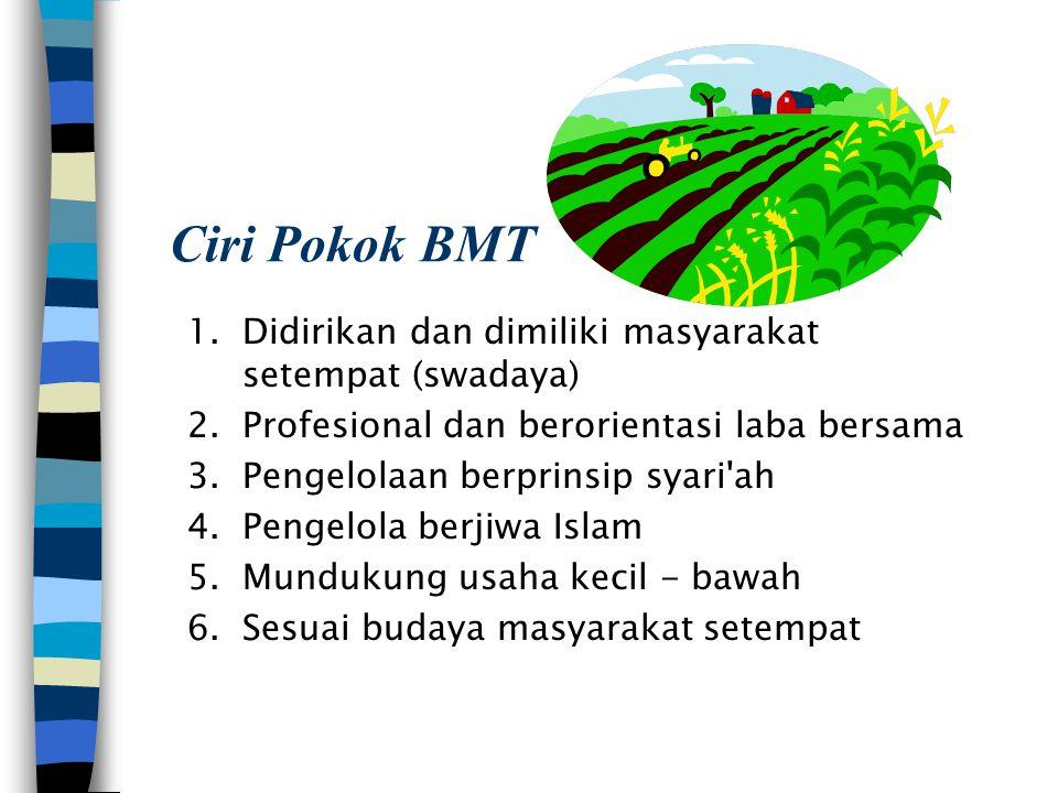 Ciri Pokok BMT 1.Didirikan dan dimiliki masyarakat setempat (swadaya) 2.Profesional dan berorientasi laba bersama 3.Pengelolaan berprinsip syari'ah 4.