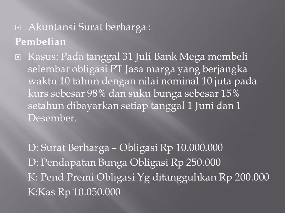  Akuntansi Surat berharga : Pembelian  Kasus: Pada tanggal 31 Juli Bank Mega membeli selembar obligasi PT Jasa marga yang berjangka waktu 10 tahun d