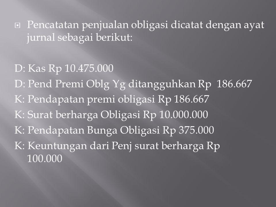  Pencatatan penjualan obligasi dicatat dengan ayat jurnal sebagai berikut: D: Kas Rp 10.475.000 D: Pend Premi Oblg Yg ditangguhkan Rp 186.667 K: Pend