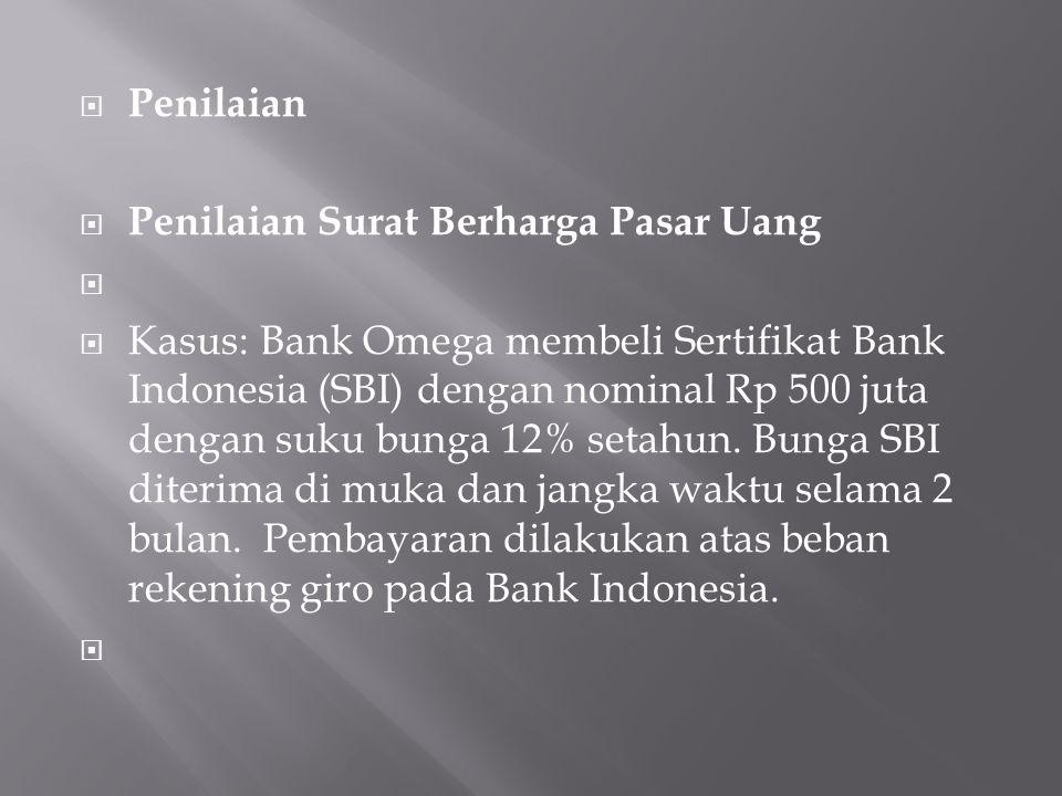  Penilaian  Penilaian Surat Berharga Pasar Uang   Kasus: Bank Omega membeli Sertifikat Bank Indonesia (SBI) dengan nominal Rp 500 juta dengan suku
