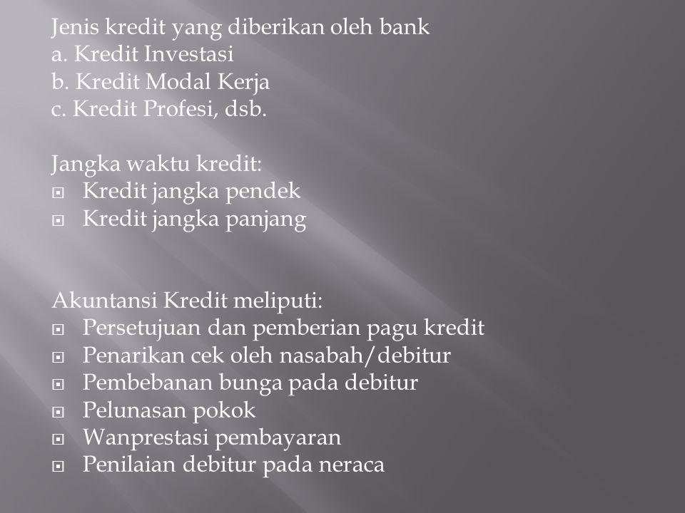 Jenis kredit yang diberikan oleh bank a. Kredit Investasi b. Kredit Modal Kerja c. Kredit Profesi, dsb. Jangka waktu kredit:  Kredit jangka pendek 