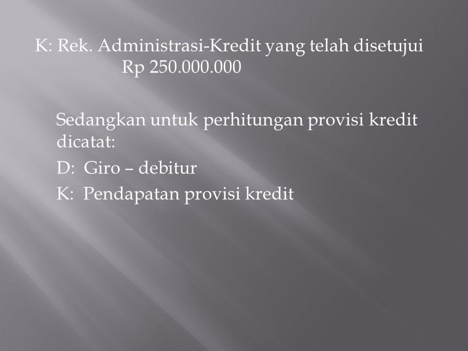 K: Rek. Administrasi-Kredit yang telah disetujui Rp 250.000.000 Sedangkan untuk perhitungan provisi kredit dicatat: D: Giro – debitur K: Pendapatan pr