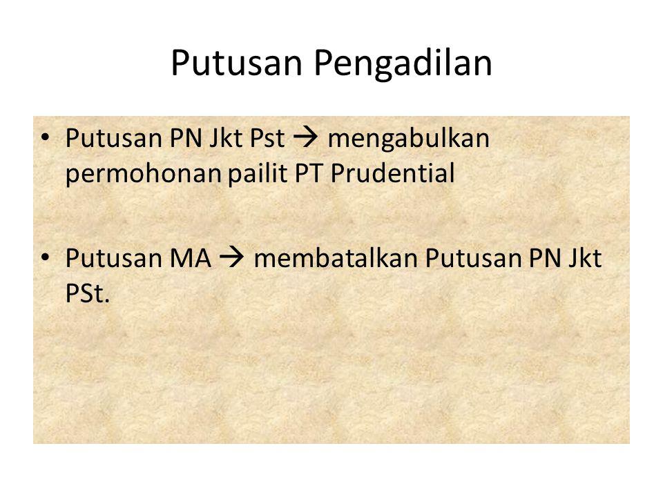 Putusan Pengadilan Putusan PN Jkt Pst  mengabulkan permohonan pailit PT Prudential Putusan MA  membatalkan Putusan PN Jkt PSt.