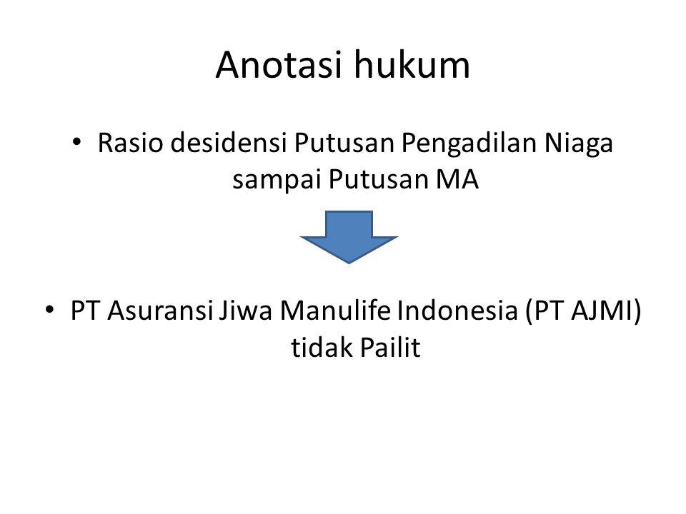 Anotasi hukum Rasio desidensi Putusan Pengadilan Niaga sampai Putusan MA PT Asuransi Jiwa Manulife Indonesia (PT AJMI) tidak Pailit