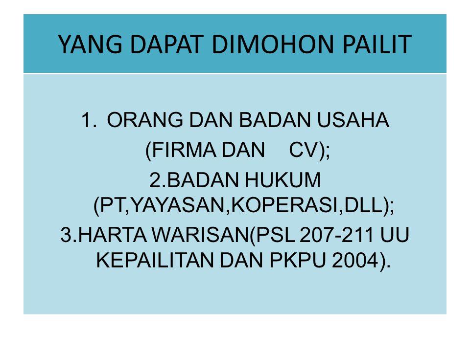 YANG DAPAT DIMOHON PAILIT 1.ORANG DAN BADAN USAHA (FIRMA DAN CV); 2.BADAN HUKUM (PT,YAYASAN,KOPERASI,DLL); 3.HARTA WARISAN(PSL 207-211 UU KEPAILITAN D