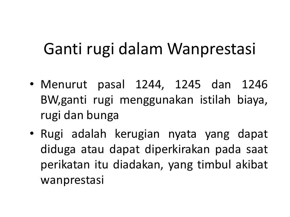 Ganti rugi dalam Wanprestasi Menurut pasal 1244, 1245 dan 1246 BW,ganti rugi menggunakan istilah biaya, rugi dan bunga Rugi adalah kerugian nyata yang