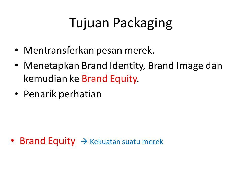 Tujuan Packaging Mentransferkan pesan merek.
