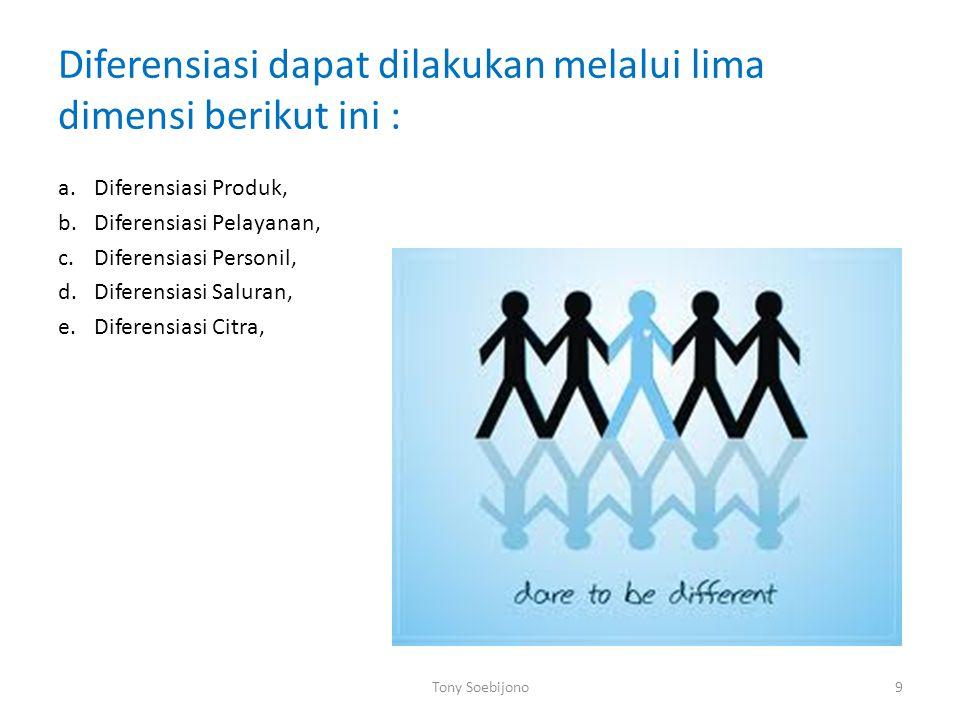 Diferensiasi dapat dilakukan melalui lima dimensi berikut ini : a.Diferensiasi Produk, b.Diferensiasi Pelayanan, c.Diferensiasi Personil, d.Diferensiasi Saluran, e.Diferensiasi Citra, Tony Soebijono9