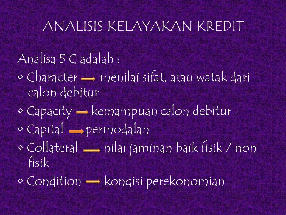 ANALISIS KELAYAKAN KREDIT Analisa 5 C adalah : Character menilai sifat, atau watak dari calon debitur Capacity kemampuan calon debitur Capital permoda