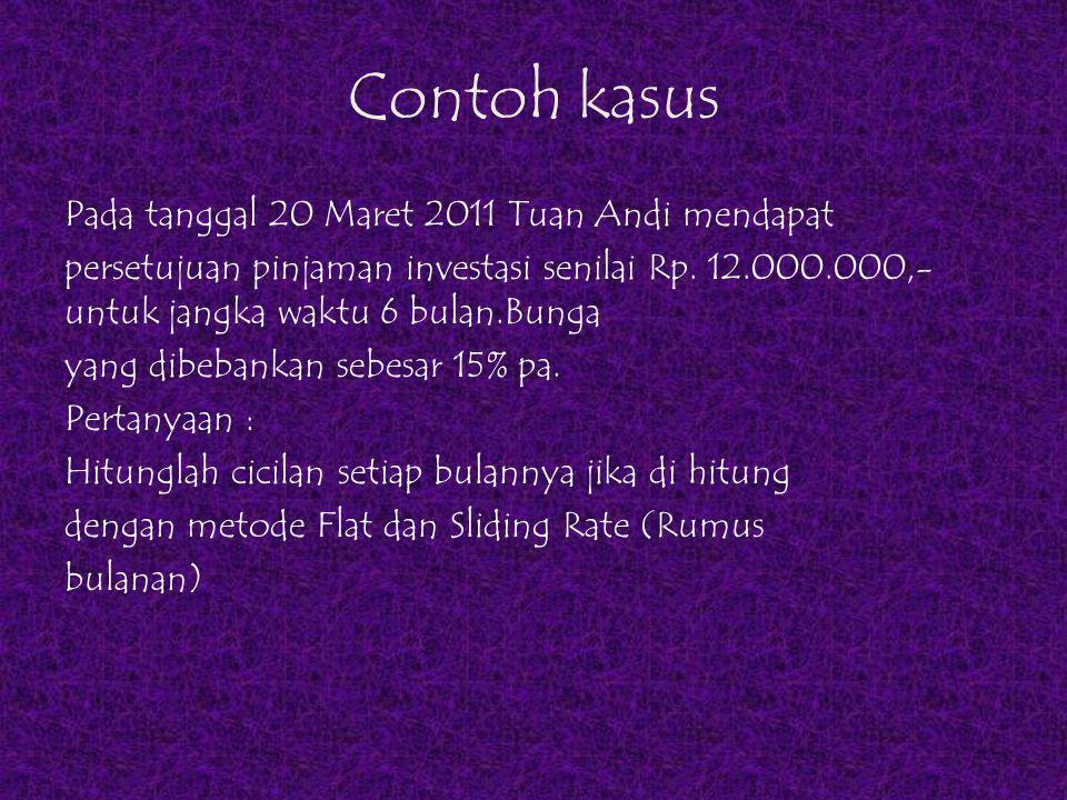 Contoh kasus Pada tanggal 20 Maret 2011 Tuan Andi mendapat persetujuan pinjaman investasi senilai Rp. 12.000.000,- untuk jangka waktu 6 bulan.Bunga ya