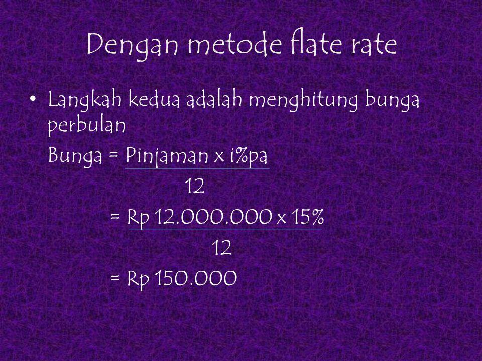 Dengan metode flate rate Jadi jumlah angsuran setiap bulan adalah : Cicilan pokok pinjaman = Rp 2.000.000 Bunga = Rp 150.000 Jumlah angsuran Rp 2.150.000  jumlah angsuran ini setiap bulan sama sampai 6 bulan