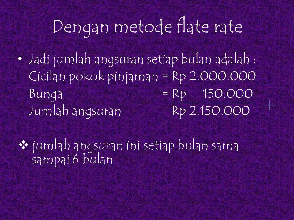 Tabel Perhitungan Kredit dengan metode Flate Rate bulanSisa pinjaman Cicilan pokok pinjaman Flate rate bunga total cicilan 012.000.000 0 0 110.000.000 2.000.000150.0002.150.000 2 8.000.000 2.000.000150.0002.150.000 3 6.000.000 2.000.000150.0002.150.000 4 4.000.000 2.000.000150.0002.150.000 5 2.000.000 150.0002.150.000 6 02.000.000150.0002.150.000 Total900.00012.900.000