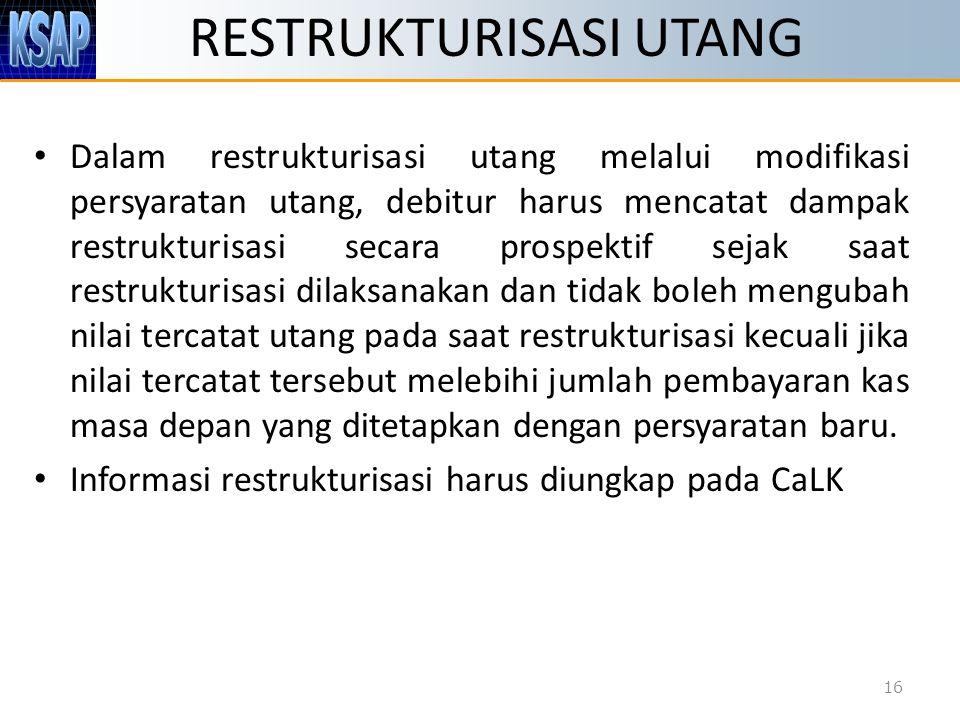 RESTRUKTURISASI UTANG Dalam restrukturisasi utang melalui modifikasi persyaratan utang, debitur harus mencatat dampak restrukturisasi secara prospekti