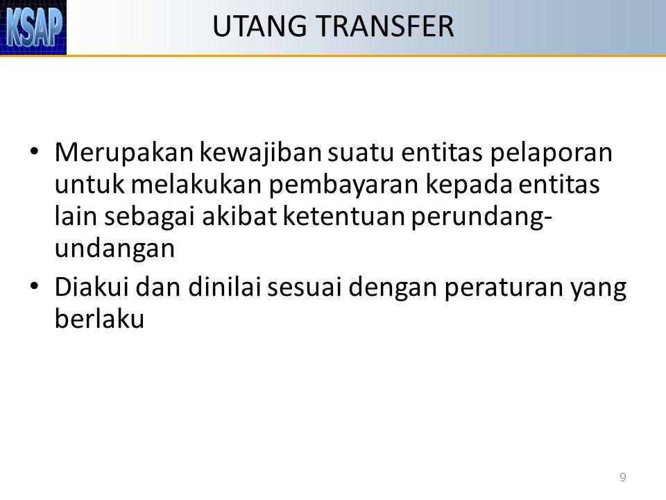 UTANG TRANSFER Merupakan kewajiban suatu entitas pelaporan untuk melakukan pembayaran kepada entitas lain sebagai akibat ketentuan perundang- undangan