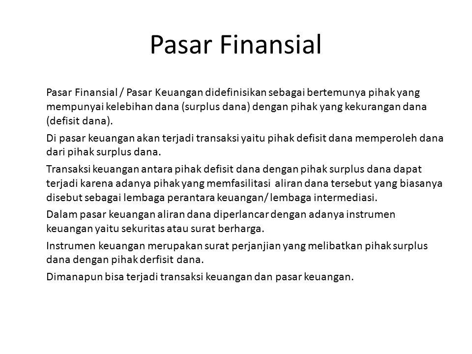 Pasar Finansial Pasar Finansial / Pasar Keuangan didefinisikan sebagai bertemunya pihak yang mempunyai kelebihan dana (surplus dana) dengan pihak yang kekurangan dana (defisit dana).