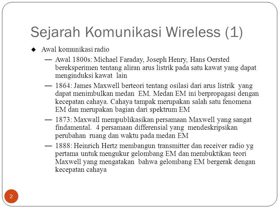 Sejarah Komunikasi Wireless (1) 2 u Awal komunikasi radio —Awal 1800s: Michael Faraday, Joseph Henry, Hans Oersted bereksperimen tentang aliran arus l