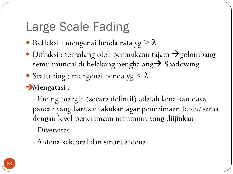 Large Scale Fading 23 Refleksi : mengenai benda rata yg > λ Difraksi : terhalang oleh permukaan tajam  gelombang semu muncul di belakang penghalang 