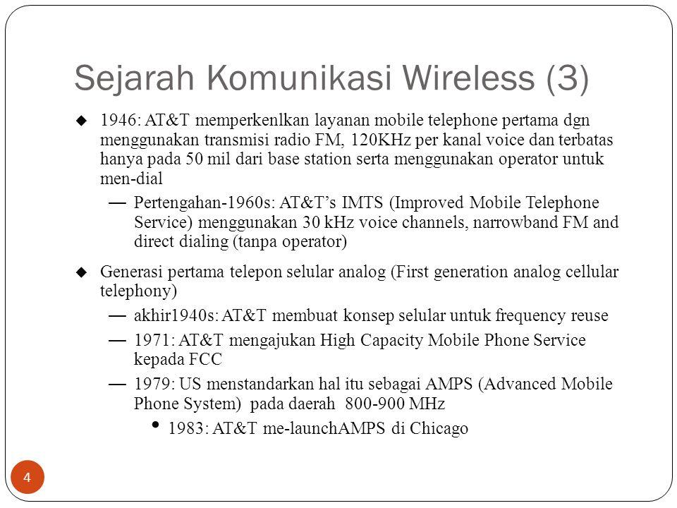 Sejarah Komunikasi Wireless (3) 4 u 1946: AT&T memperkenlkan layanan mobile telephone pertama dgn menggunakan transmisi radio FM, 120KHz per kanal voi