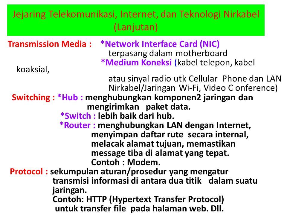Jejaring Telekomunikasi, Internet, dan Teknologi Nirkabel (Lanjutan) Transmission Media : *Network Interface Card (NIC) terpasang dalam motherboard *M
