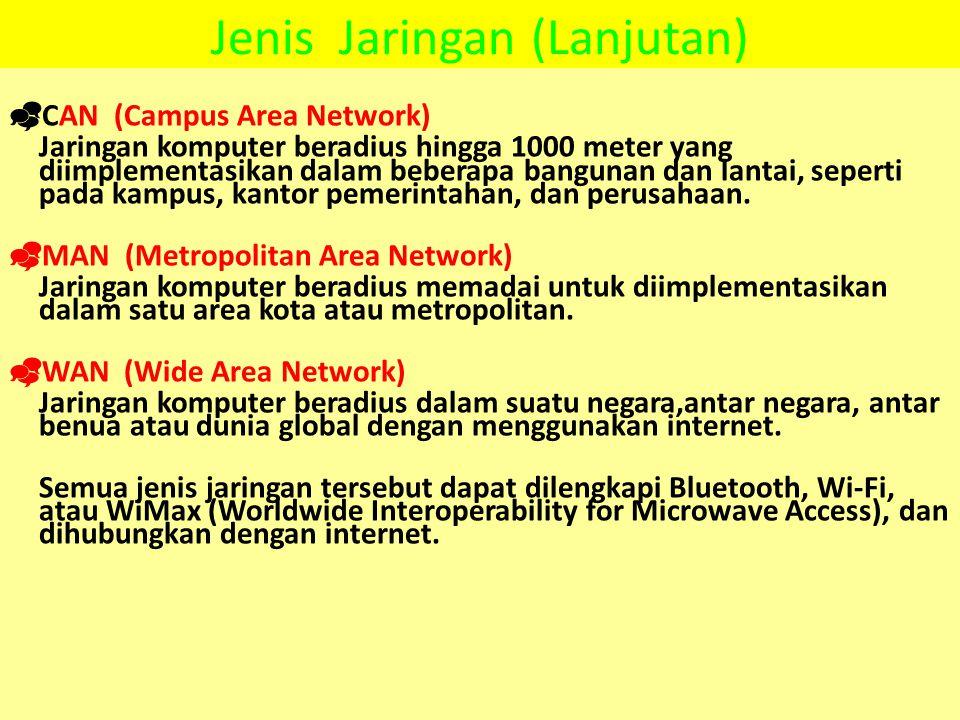 Jenis Jaringan (Lanjutan)  CAN (Campus Area Network) Jaringan komputer beradius hingga 1000 meter yang diimplementasikan dalam beberapa bangunan dan