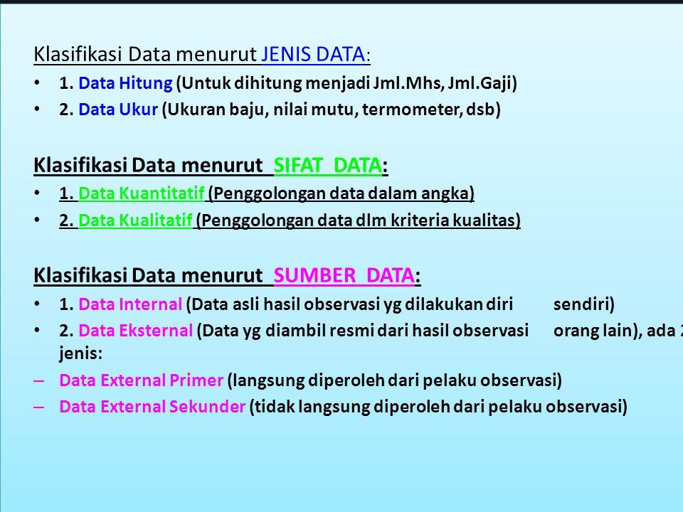 7 Klasifikasi Data menurut JENIS DATA : 1. Data Hitung (Untuk dihitung menjadi Jml.Mhs, Jml.Gaji) 2. Data Ukur (Ukuran baju, nilai mutu, termometer, d