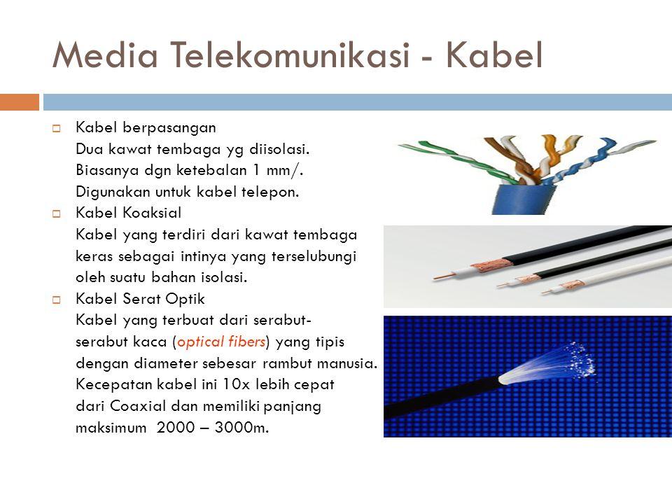 Media Telekomunikasi - Kabel  Kabel berpasangan Dua kawat tembaga yg diisolasi. Biasanya dgn ketebalan 1 mm/. Digunakan untuk kabel telepon.  Kabel