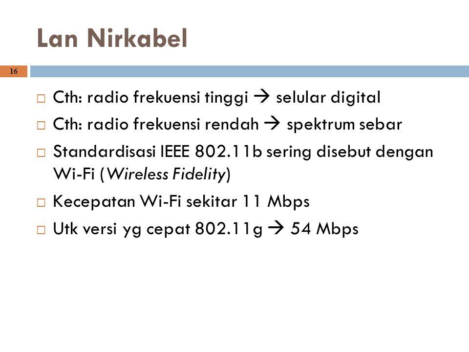 16 Lan Nirkabel  Cth: radio frekuensi tinggi  selular digital  Cth: radio frekuensi rendah  spektrum sebar  Standardisasi IEEE 802.11b sering dis