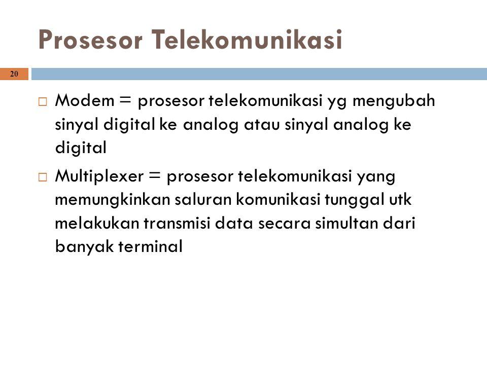 20 Prosesor Telekomunikasi  Modem = prosesor telekomunikasi yg mengubah sinyal digital ke analog atau sinyal analog ke digital  Multiplexer = proses