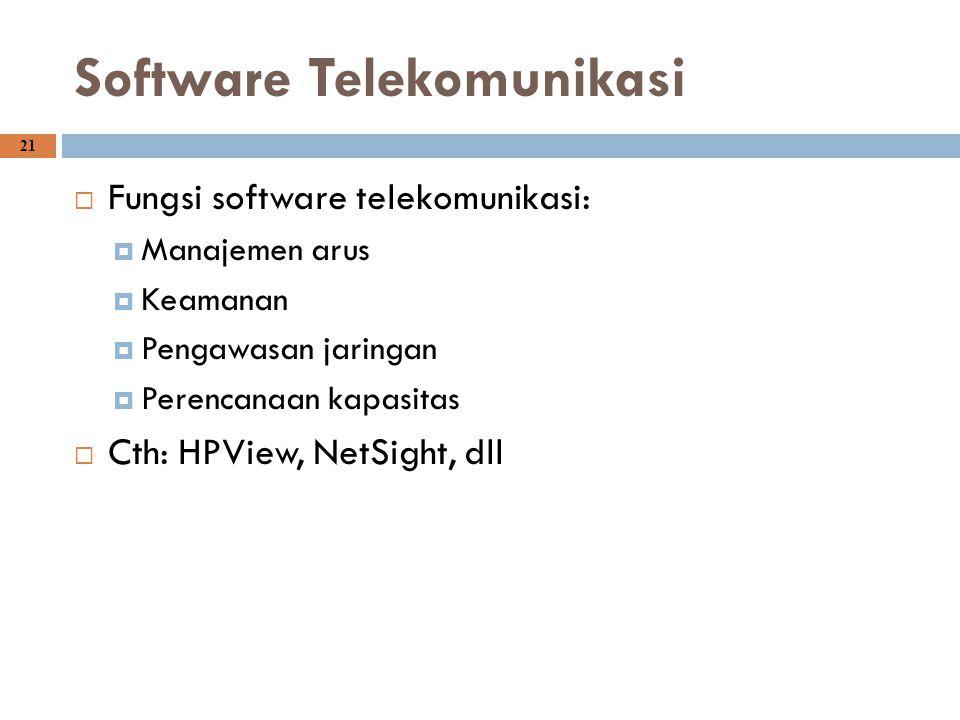 21 Software Telekomunikasi  Fungsi software telekomunikasi:  Manajemen arus  Keamanan  Pengawasan jaringan  Perencanaan kapasitas  Cth: HPView,