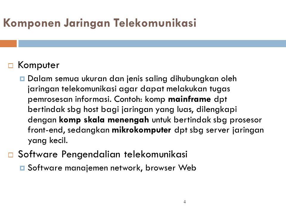  Komputer  Dalam semua ukuran dan jenis saling dihubungkan oleh jaringan telekomunikasi agar dapat melakukan tugas pemrosesan informasi. Contoh: kom