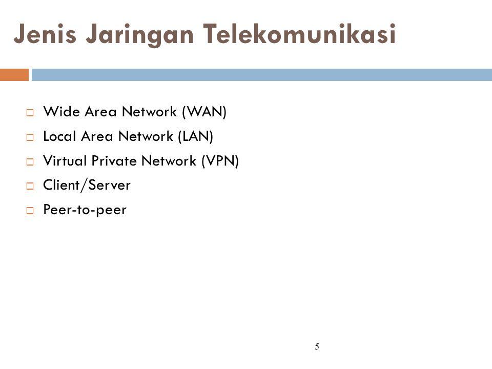 Jenis Jaringan Telekomunikasi  Wide Area Network (WAN)  Local Area Network (LAN)  Virtual Private Network (VPN)  Client/Server  Peer-to-peer 5