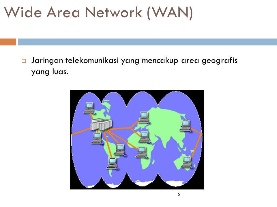 Wide Area Network (WAN)  Jaringan telekomunikasi yang mencakup area geografis yang luas. 6