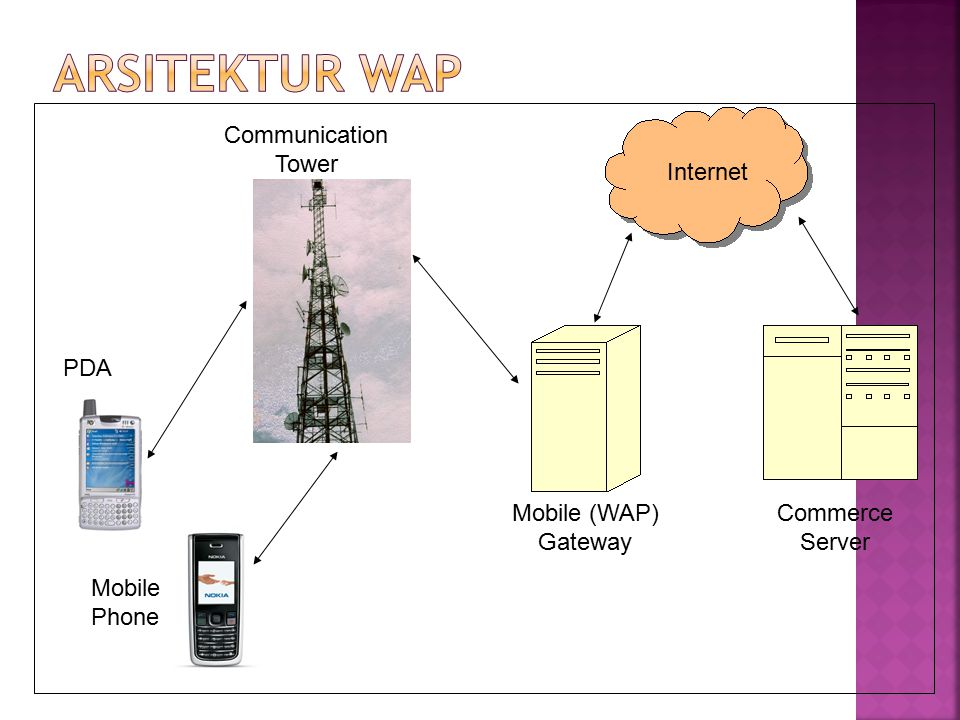 PDA Mobile Phone Communication Tower Mobile (WAP) Gateway Commerce Server Internet