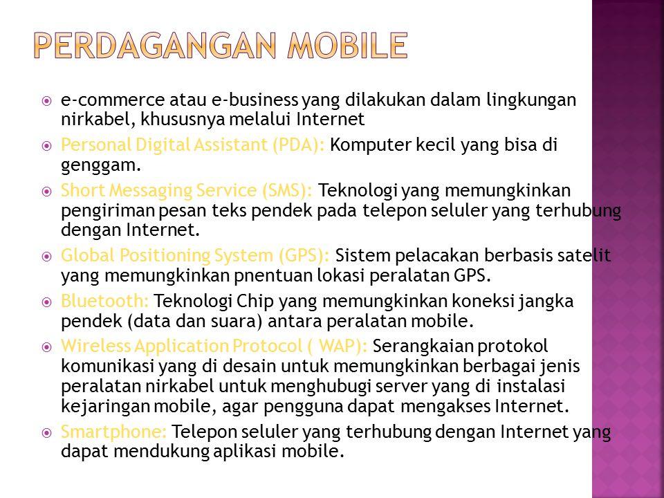  e-commerce atau e-business yang dilakukan dalam lingkungan nirkabel, khususnya melalui Internet  Personal Digital Assistant (PDA): Komputer kecil yang bisa di genggam.