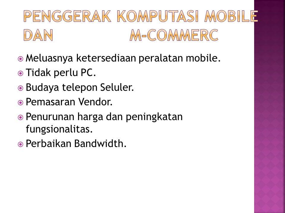  Meluasnya ketersediaan peralatan mobile.  Tidak perlu PC.  Budaya telepon Seluler.  Pemasaran Vendor.  Penurunan harga dan peningkatan fungsiona