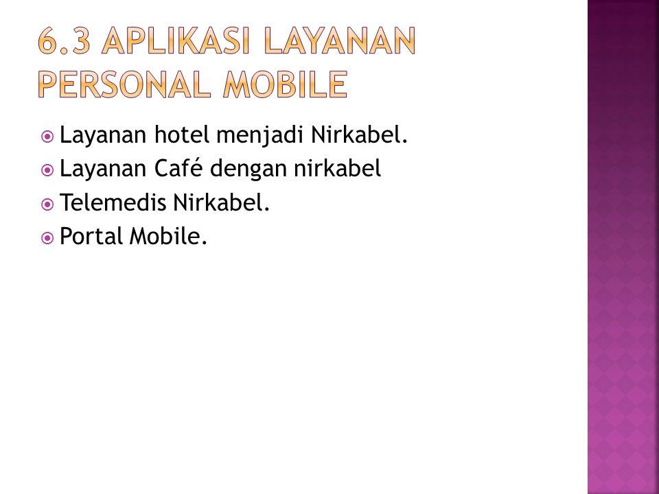 Layanan hotel menjadi Nirkabel.  Layanan Café dengan nirkabel  Telemedis Nirkabel.  Portal Mobile.