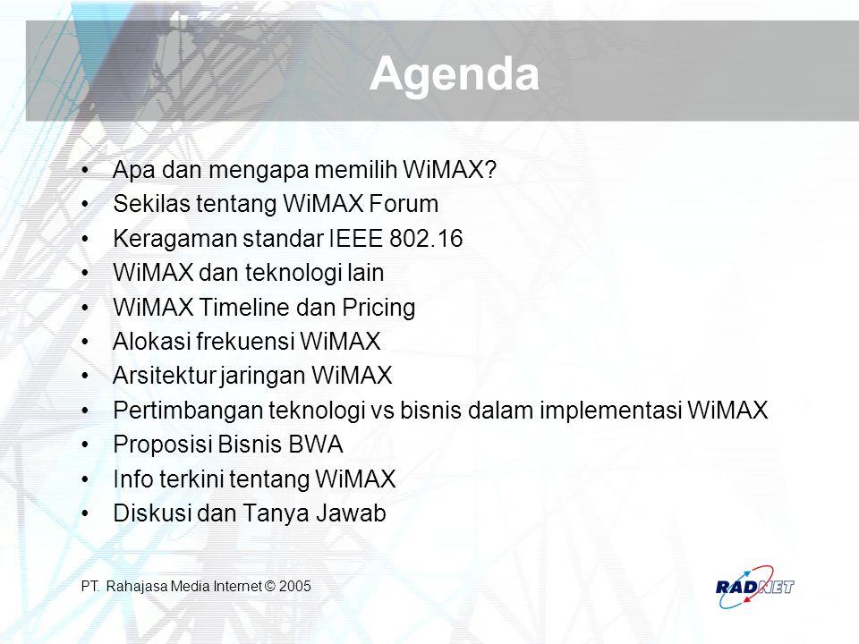 PT. Rahajasa Media Internet © 2005 Agenda Apa dan mengapa memilih WiMAX? Sekilas tentang WiMAX Forum Keragaman standar IEEE 802.16 WiMAX dan teknologi