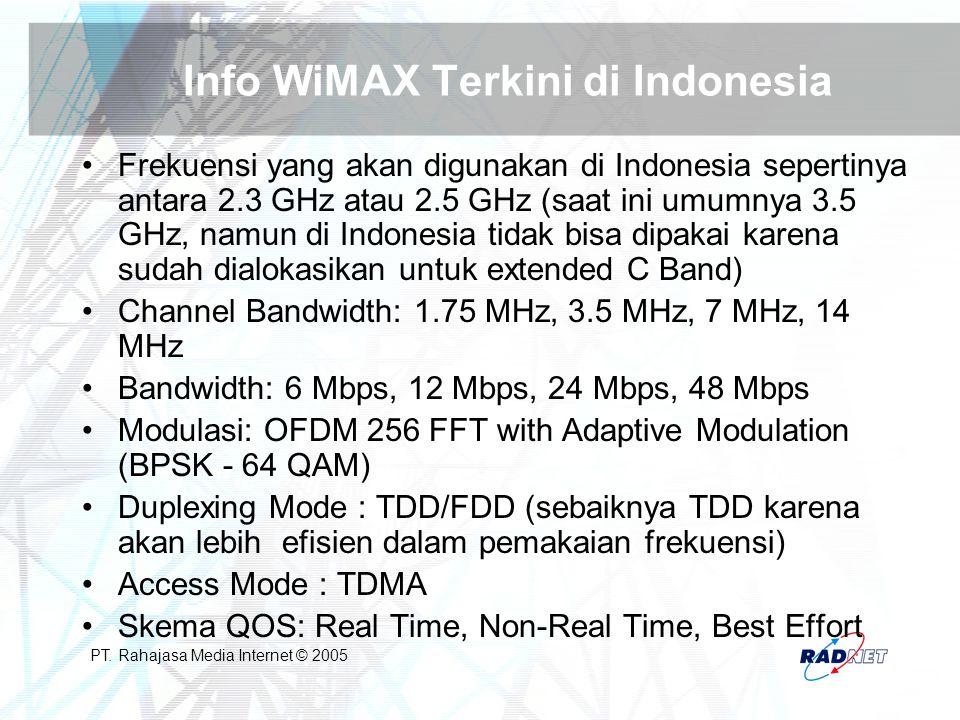 PT. Rahajasa Media Internet © 2005 Info WiMAX Terkini di Indonesia Frekuensi yang akan digunakan di Indonesia sepertinya antara 2.3 GHz atau 2.5 GHz (