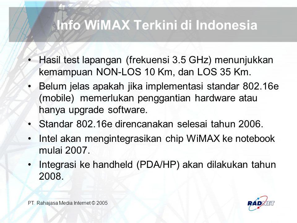 PT. Rahajasa Media Internet © 2005 Info WiMAX Terkini di Indonesia Hasil test lapangan (frekuensi 3.5 GHz) menunjukkan kemampuan NON-LOS 10 Km, dan LO
