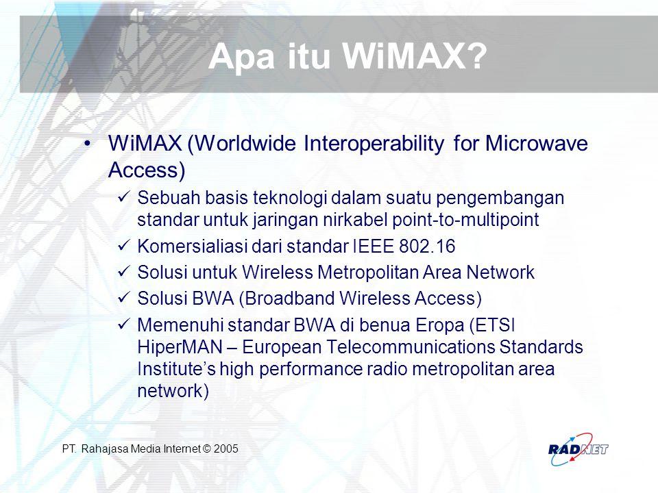 PT. Rahajasa Media Internet © 2005 Apa itu WiMAX? WiMAX (Worldwide Interoperability for Microwave Access) Sebuah basis teknologi dalam suatu pengemban
