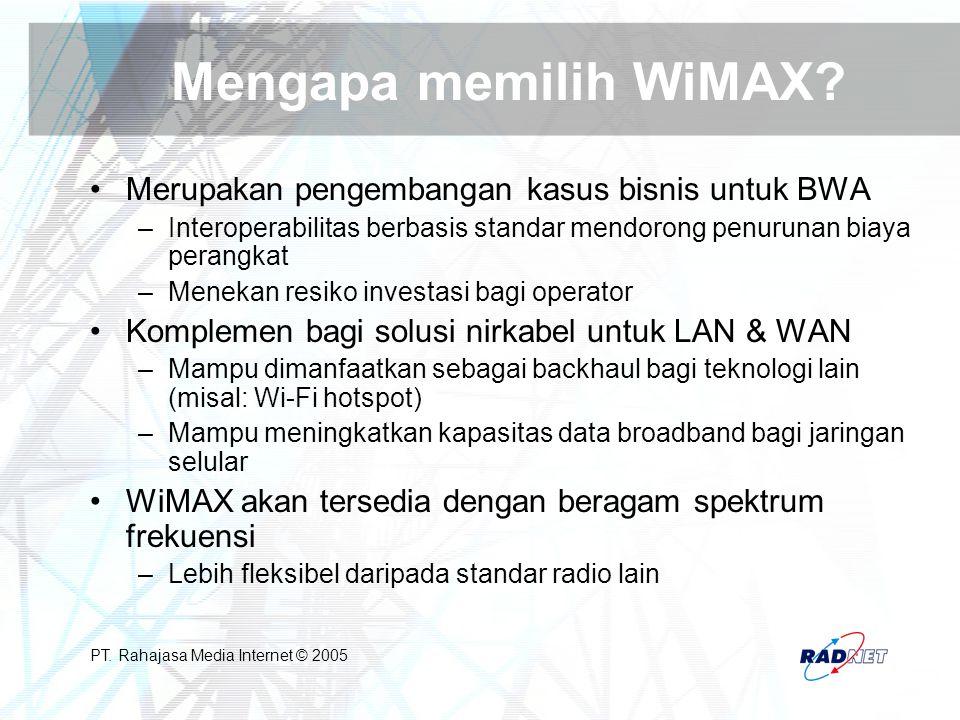 PT. Rahajasa Media Internet © 2005 Mengapa memilih WiMAX? Merupakan pengembangan kasus bisnis untuk BWA –Interoperabilitas berbasis standar mendorong