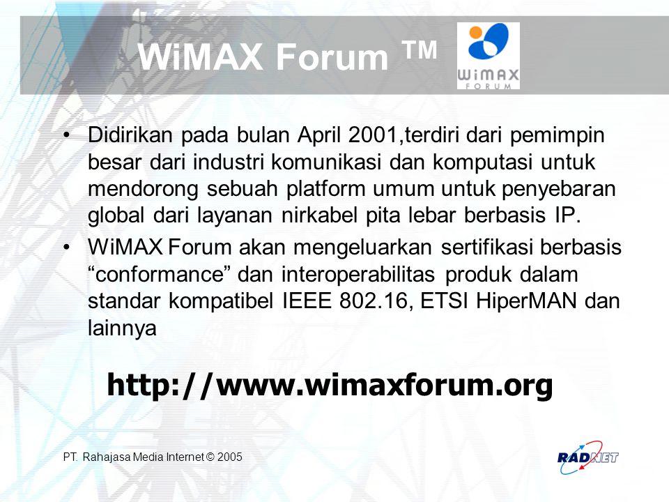 PT. Rahajasa Media Internet © 2005 WiMAX Forum TM Didirikan pada bulan April 2001,terdiri dari pemimpin besar dari industri komunikasi dan komputasi u