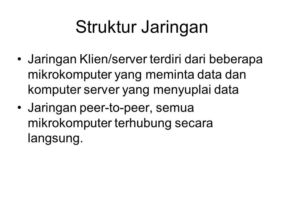 Struktur Jaringan Jaringan Klien/server terdiri dari beberapa mikrokomputer yang meminta data dan komputer server yang menyuplai data Jaringan peer-to-peer, semua mikrokomputer terhubung secara langsung.