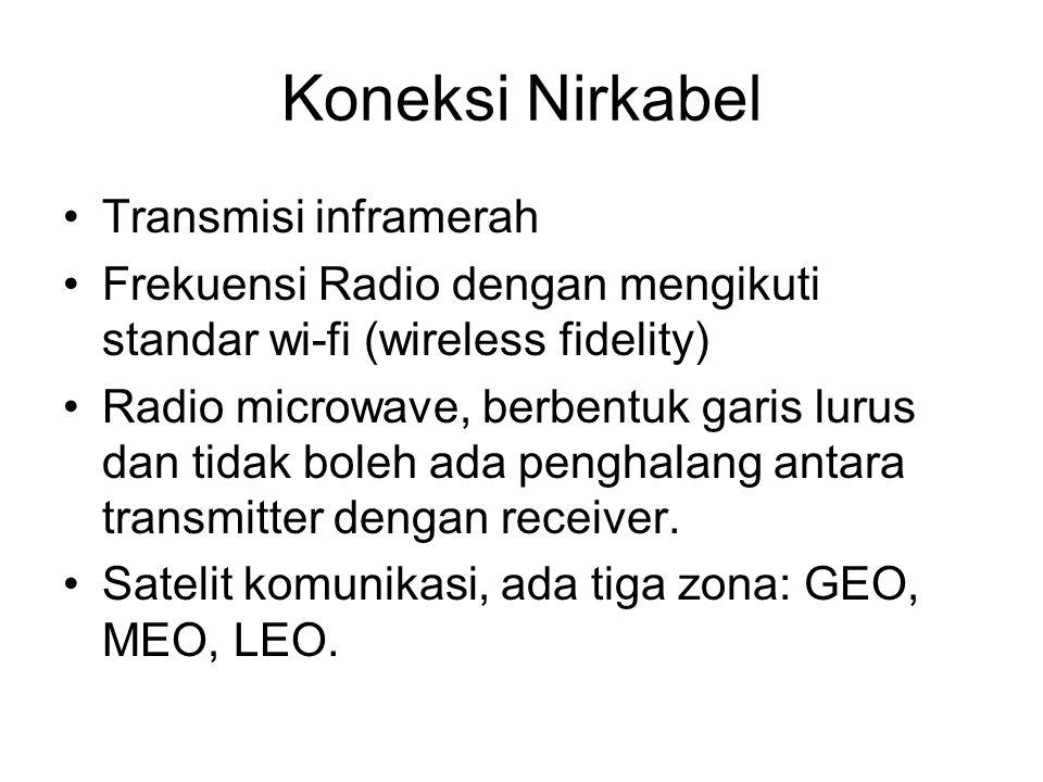 Koneksi Nirkabel Transmisi inframerah Frekuensi Radio dengan mengikuti standar wi-fi (wireless fidelity) Radio microwave, berbentuk garis lurus dan tidak boleh ada penghalang antara transmitter dengan receiver.
