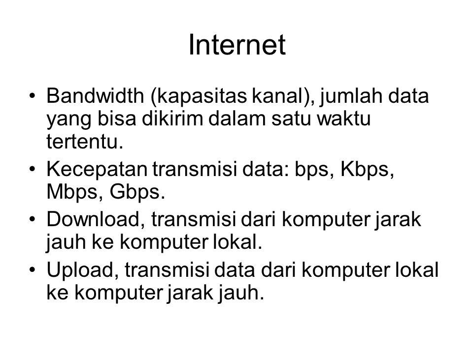 Internet Bandwidth (kapasitas kanal), jumlah data yang bisa dikirim dalam satu waktu tertentu.